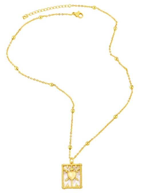 CC Brass Shell Geometric Vintage Necklace 2