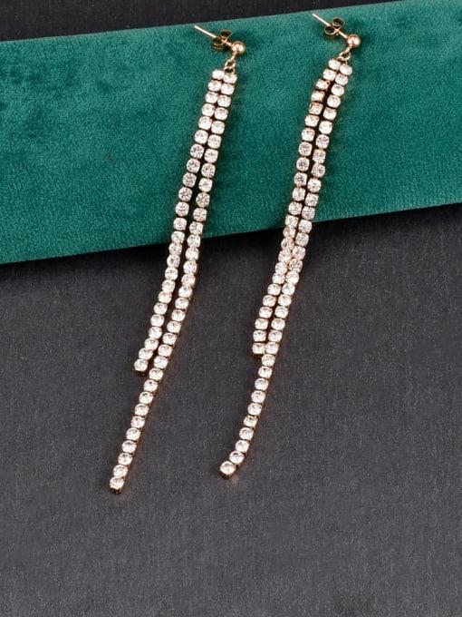 A TEEM Titanium Steel Cubic Zirconia Tassel Minimalist Drop Earring