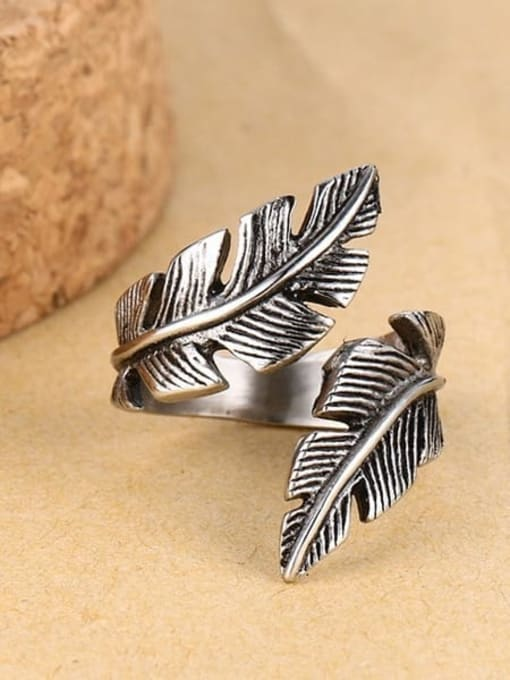 CONG Stainless steel Feather Vintage Band Ring 0