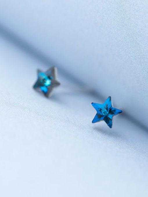 Rosh 925 Sterling Silver Cubic Zirconia Star Minimalist Stud Earring 2