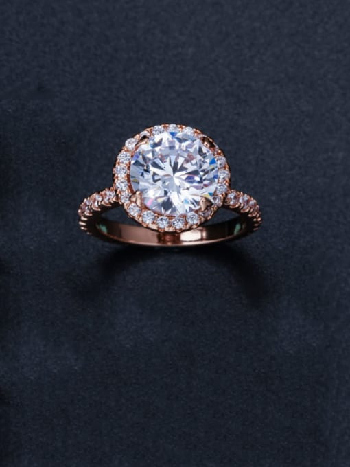 L.WIN Brass Cubic Zirconia Round Luxury Band Ring 3