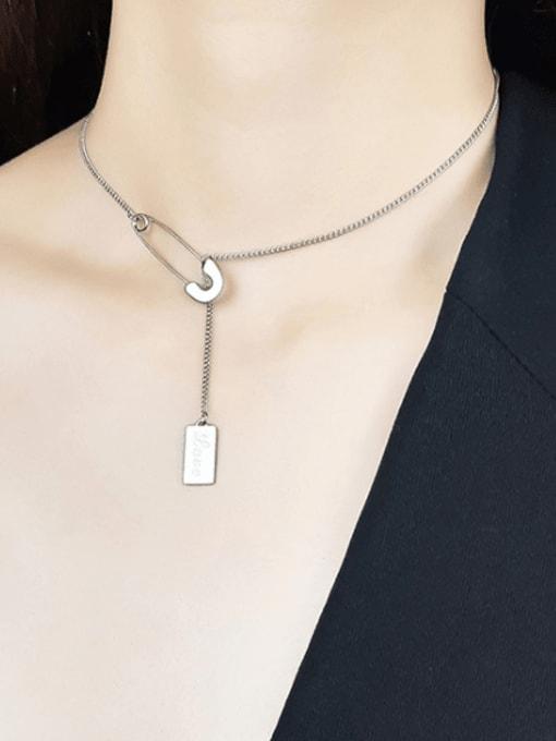 CONG Stainless steel Geometric  Tassel Minimalist Lariat Necklace 1