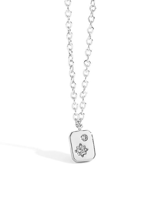 Platinum square Necklace Brass Rhinestone Minimalist geometry Pendant Necklace
