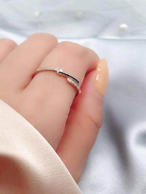 MIYA Titanium Steel Enamel Rhinestone Irregular Minimalist Band Ring 0