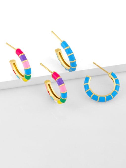 CC Brass Enamel Geometric Minimalist Stud Earring 0