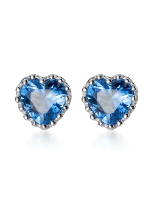 Rosh 925 Sterling Silver Cubic Zirconia Heart Minimalist Stud Earring 4