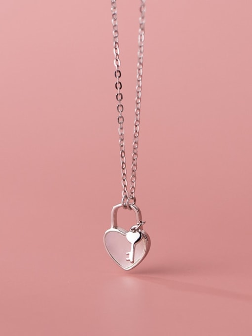 Rosh 925 Sterling Silver Shell Heart Minimalist Necklace 1