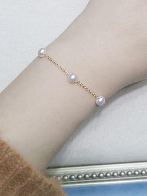 RAIN Brass Freshwater Pearl Round Minimalist Link Bracelet 1