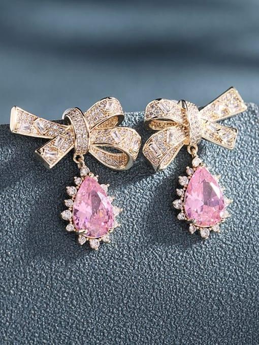 Luxu Brass Cubic Zirconia Bowknot Trend Drop Earring 1
