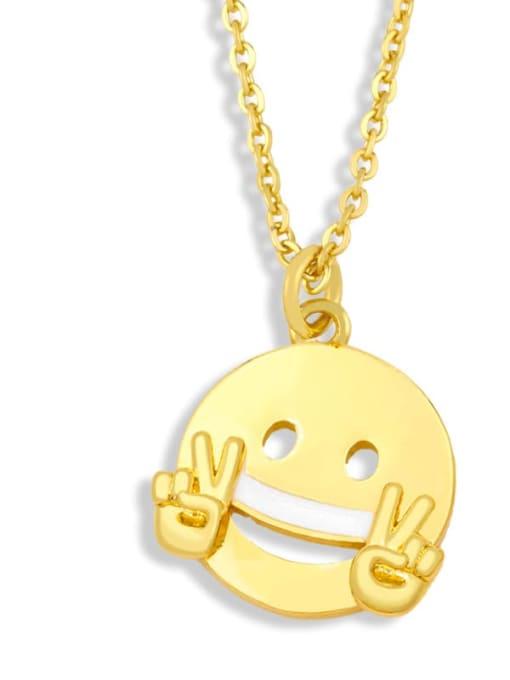 nku96 A Brass Enamel Geometric Hip Hop Necklace