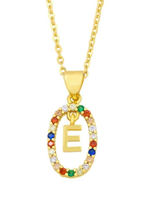 E Brass Cubic Zirconia Letter Vintage Oval Pendant Necklace