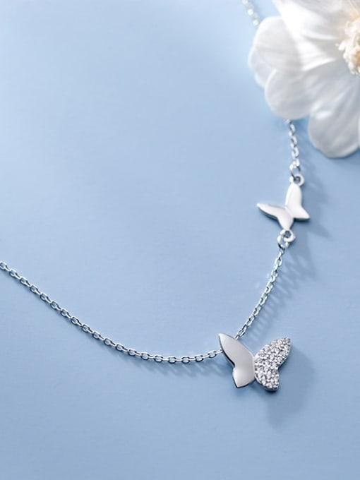 Rosh 925 Sterling Silver Rhinestone Butterfly Minimalist Necklace 0