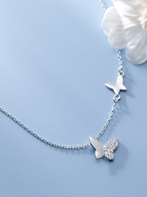 Rosh 925 Sterling Silver Rhinestone Butterfly Minimalist Necklace