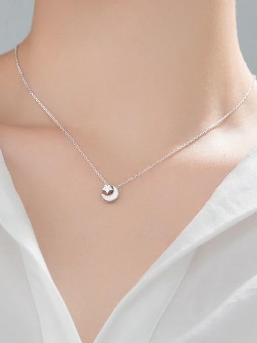 Rosh 925 Sterling Silver Cubic Zirconia Moon Minimalist Necklace 2