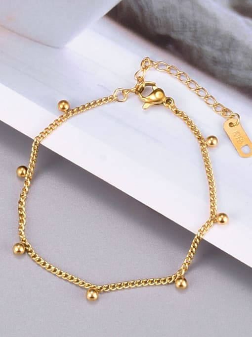 A TEEM Titanium Steel Bead Irregular Minimalist Link Bracelet 1