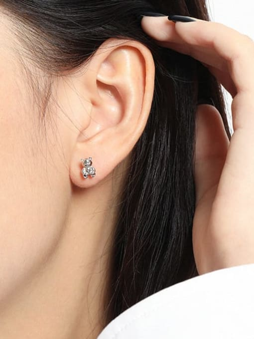 DAKA 925 Sterling Silver Smooth Bear Cute Stud Earring 2