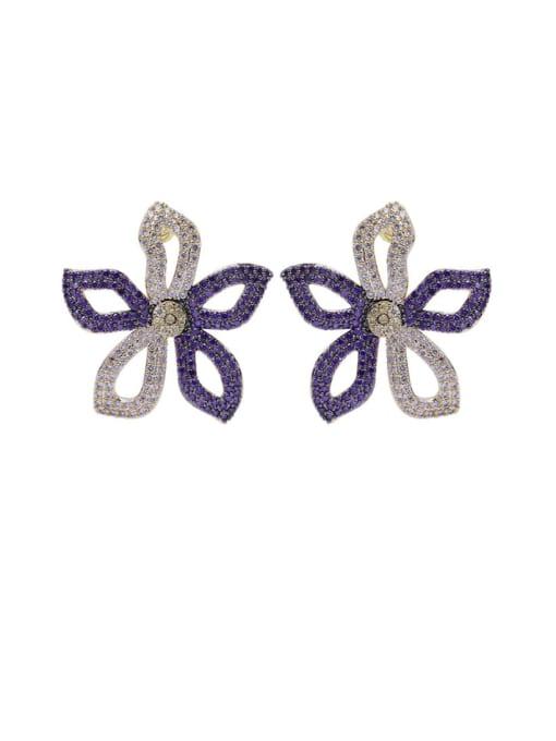 purple+ white flowers Brass Cubic Zirconia Flower Luxury Stud Earring