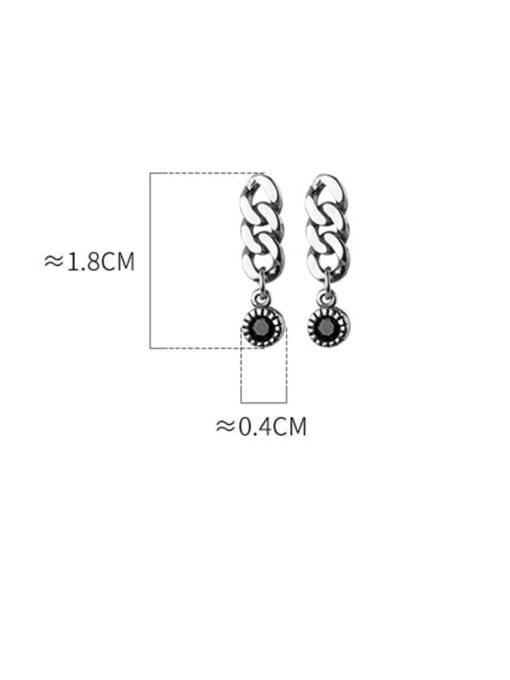 Rosh 925 Sterling Silver Cubic Zirconia Geometric Chain  Vintage Drop Earring 4