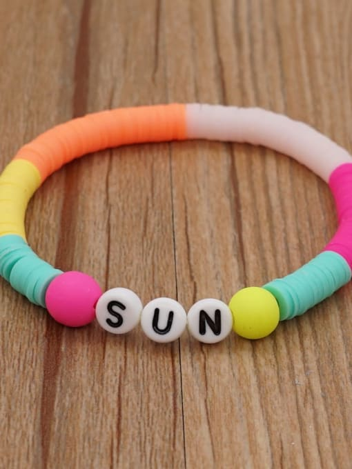 QT B200011D Stainless steel Multi Color Polymer Clay Letter Bohemia Stretch Bracelet