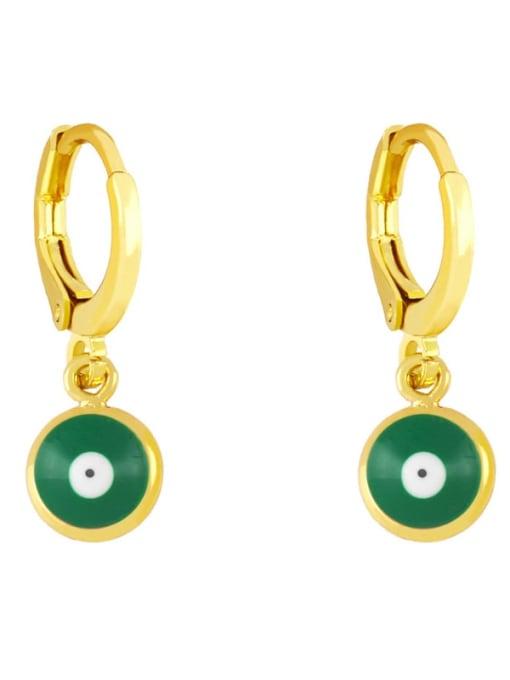 green Brass Enamel Evil Eye Minimalist Huggie Earring
