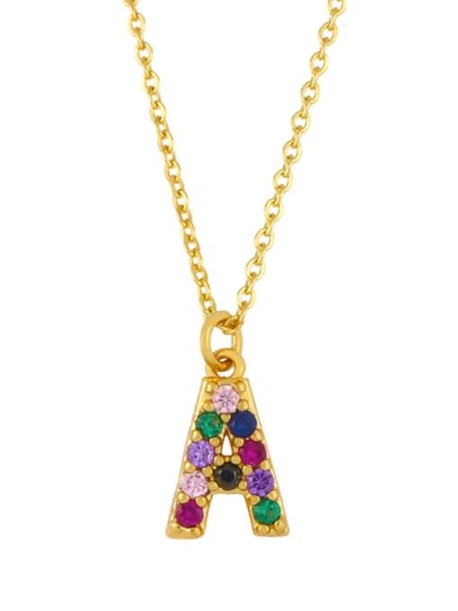 A Brass Cubic Zirconia Letter Vintage Necklace