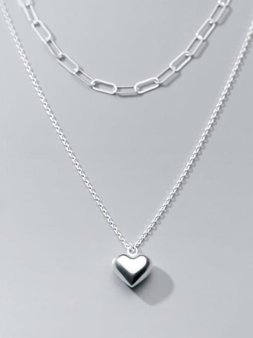 Rosh 925 Sterling Silver Heart Minimalist Multi Strand Necklace 2