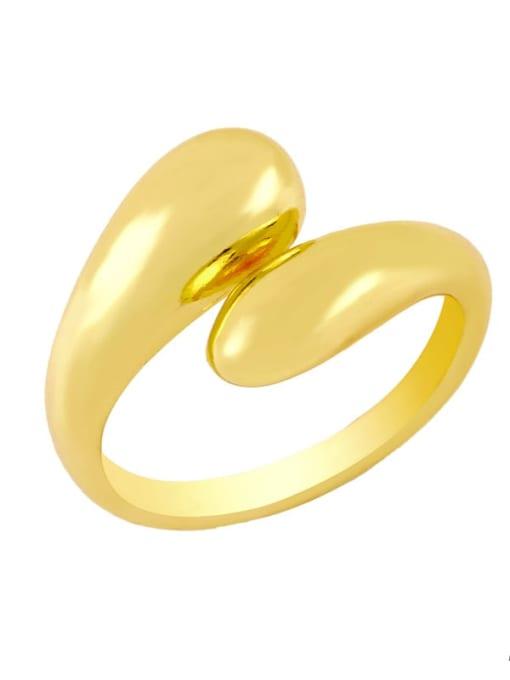 A Brass Water Drop Hip Hop Band Ring