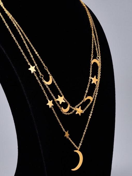 A TEEM Titanium Steel Star Vintage Multi Strand Necklace 4