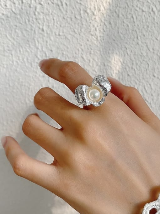 Boomer Cat 925 Sterling Silver Imitation Pearl Flower Vintage Band Ring 4
