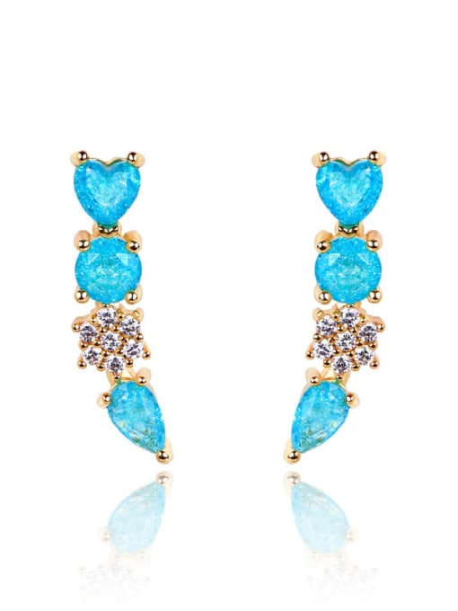 DUDU Brass Cubic Zirconia Geometric Luxury Stud Earring 0