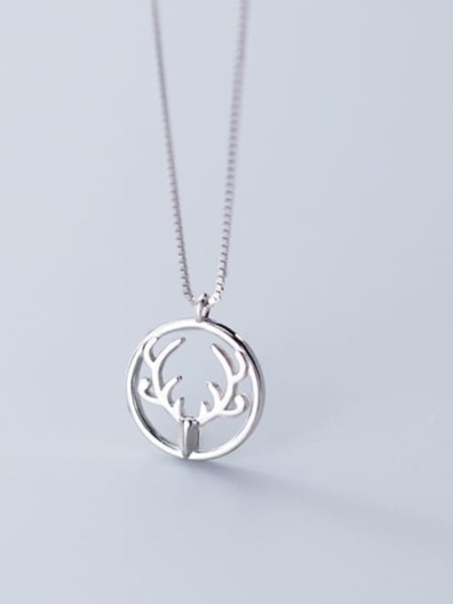 Rosh 925 Sterling Silver Simple Round  antlers  Necklace
