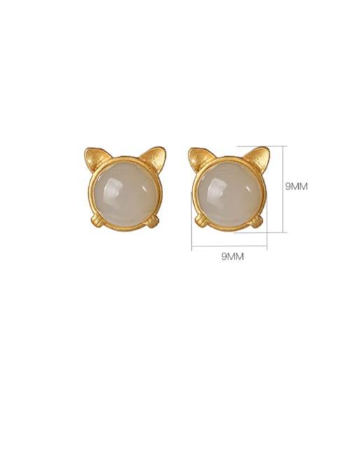 DEER 925 Sterling Silver Jade Cat Vintage Stud Earring 2