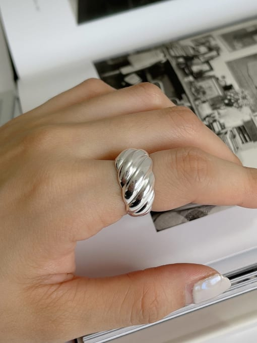 Boomer Cat 925 Sterling Silver Irregular Vintage Band Ring 1