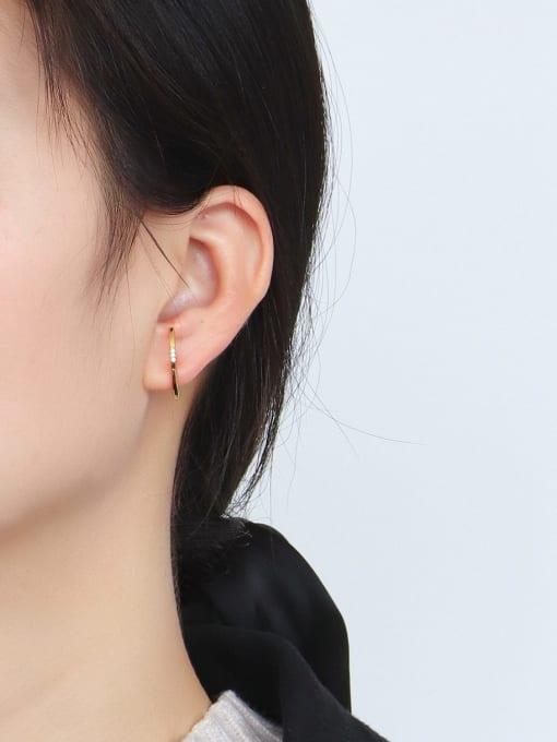 CHARME Brass Rhinestone Geometric Minimalist Stud Earring 2