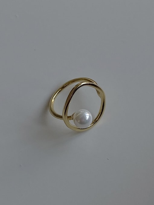 Boomer Cat 925 Sterling Silver Imitation Pearl Round Minimalist Band Ring 2