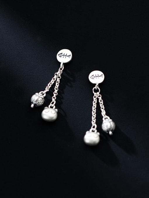 Rosh 925 Sterling Silver Bead Tassel Minimalist Drop Earring 2