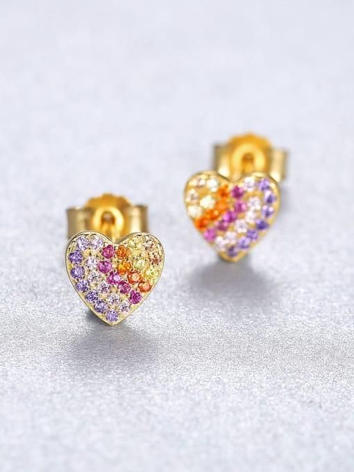 CCUI 925 Sterling Silver Cubic Zirconia Heart Dainty Stud Earring 2