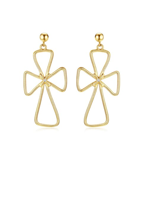 CONG Stainless steel Hollow Cross Minimalist Drop Earring 0