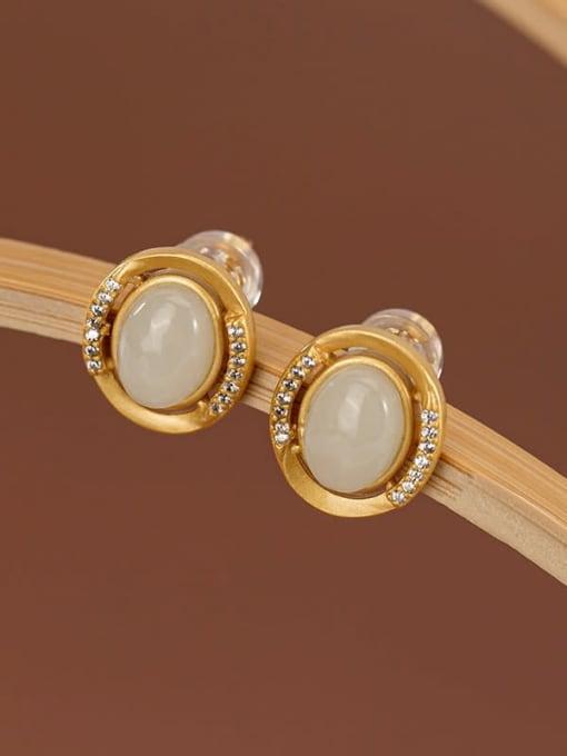 White jade (a pair) 925 Sterling Silver Jade Oval Vintage Stud Earring