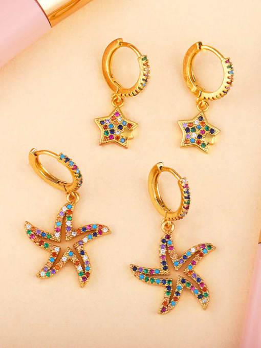 CC Brass Cubic Zirconia Star Vintage Huggie Earring 2