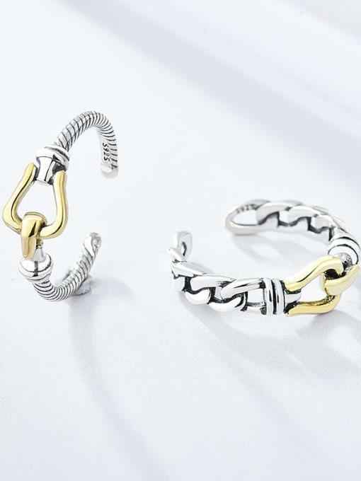 XBOX Brass hollow chain  Irregular Vintage Band Ring