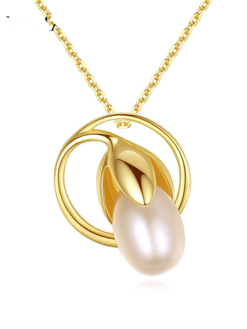 CCUI 925 Sterling Silver Freshwater Pearl Geometric Minimalist Necklace