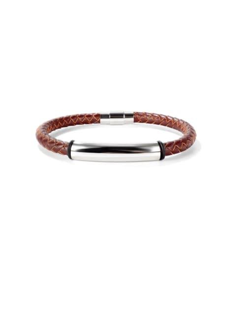 Open Sky Titanium Steel Leather Geometric Hip Hop Woven Bracelet 2