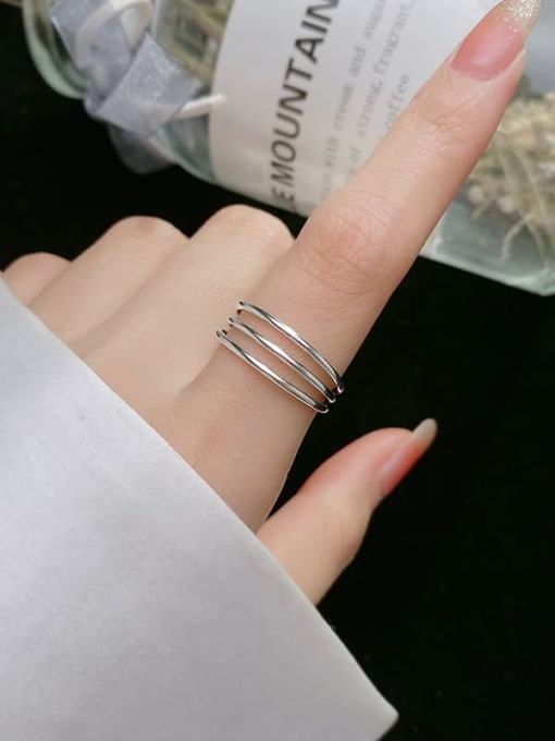 Rosh 925 Sterling Silver Geometric Minimalist Stackable Ring 2