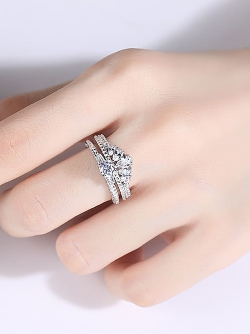 CCUI 925 Sterling Silver Cubic Zirconia Crown Dainty Band Ring 1