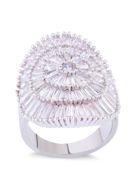 CC Brass Cubic Zirconia Geometric Luxury Band Ring