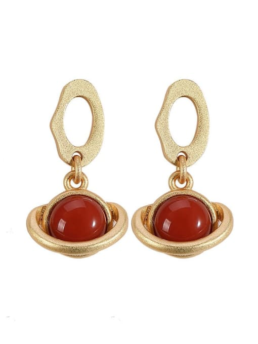 DEER 925 Sterling Silver Carnelian Geometric Vintage Drop Earring 3