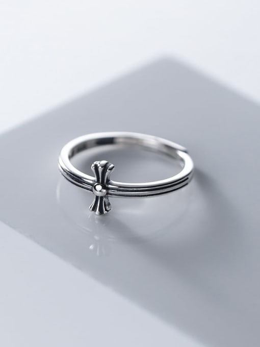 Rosh 925 Sterling Silver Cross Hip Hop Band Ring 3