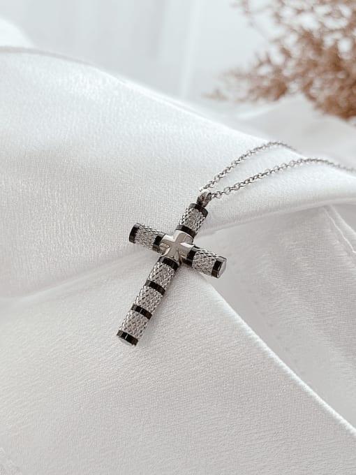 Open Sky Titanium Steel Cubic Zirconia Cross Minimalist Necklace 2
