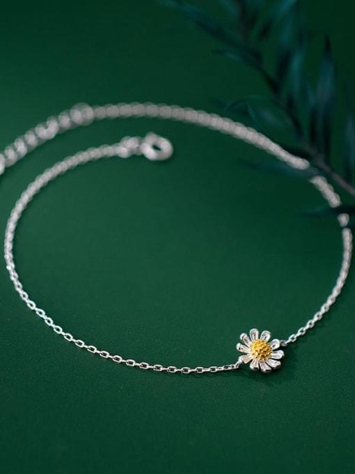 Rosh 925 Sterling Silver  Flower Minimalist Anklet 3